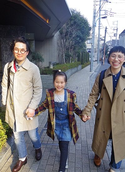 家族3人の写真